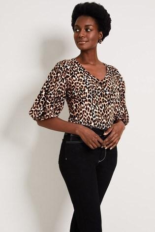 Damsel In A Dress Brown Tilia Leopard Print Knit Top