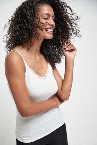 White Lace Trim Vests 2 Pack