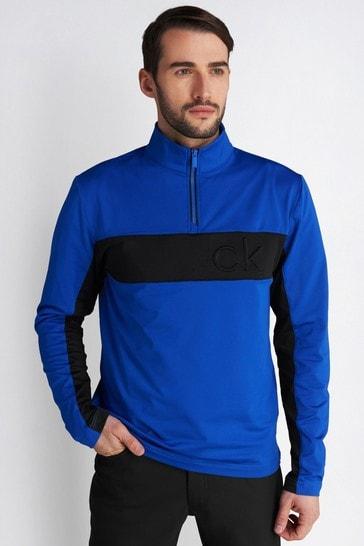 Calvin Klein Golf Blue Embossed Half Zip Jumper