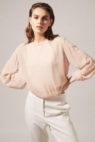 Reiss Pink Marlena Semi Sheer Blouse