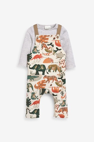 Rust GOTS Organic Animal Jersey Dungarees And Bodysuit Set (0mths-3yrs)