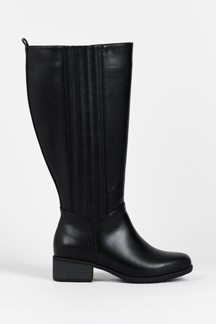 Evans Curve Black Extra Wide Fit PU Boots