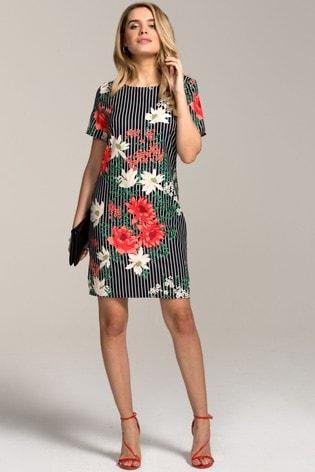 HotSquash Black Rivera Short Sleeved Print Shift Dress