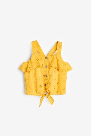 Yellow Button Through Tie Front Blouse (3-16yrs)