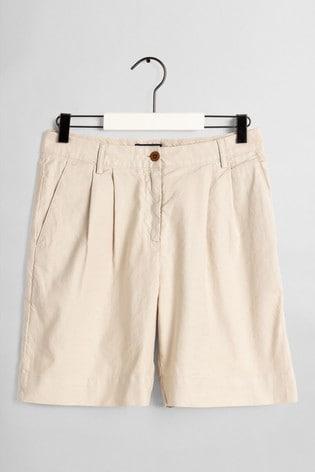 GANT Cream High Waisted Pleated City Shorts