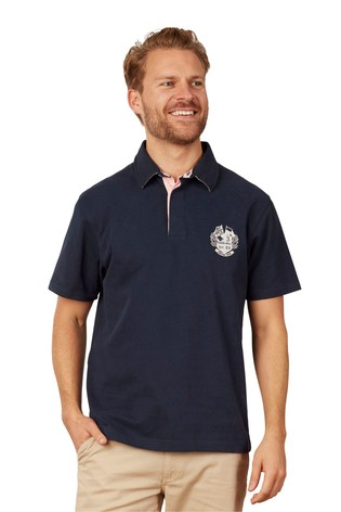 Raging Bull Navy Signature Rugby Polo Shirt