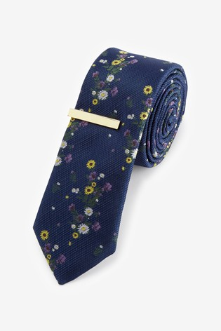 Navy Floral Tie With Tie Clip