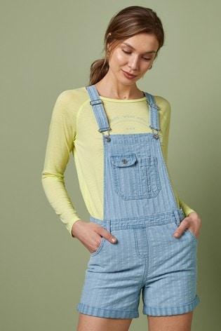 Blue Stripe Dungaree Shorts