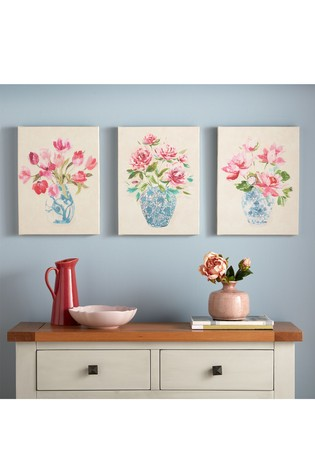 Floral Ginger Jars Trio Wall Art by Art For The Home