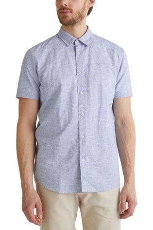 Esprit Blue Cotton Blend Short Sleeve Shirt