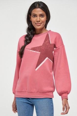 Pink Star Graphic Sweatshirt