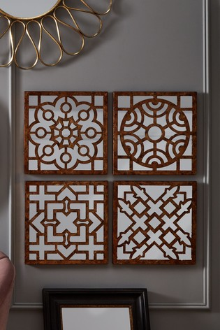 Set of 4 Square Antique Gold Metal Mirrored Wall Art by Pacific
