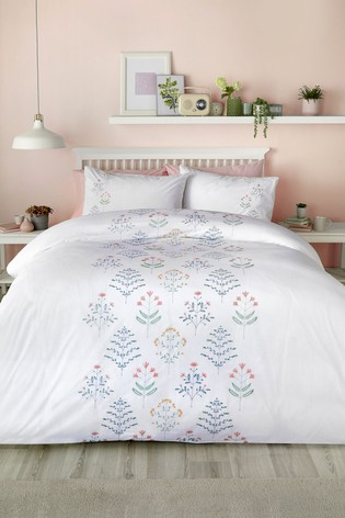 Serene Green Flora Embroidered Duvet Cover and Pillowcase Set