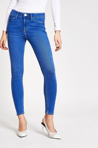 River Island Molly Mid Rise Smurf Jeans