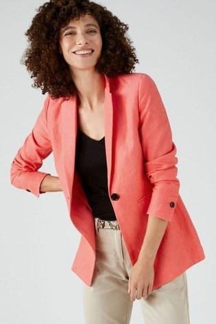 Pure Collection Pink Longline Linen Blazer