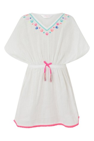 Accessorize White Shell Embroidered Kaftan