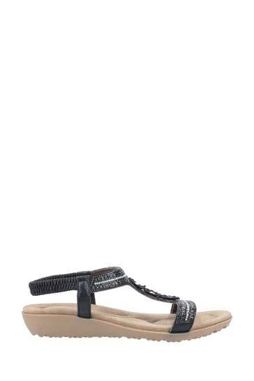 Fleet & Foster Black Tabitha Slip On Sandals