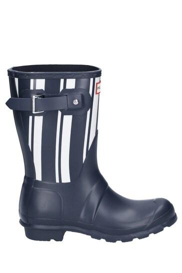 Hunter Blue Original Garden Stripe Short Wellington Boots