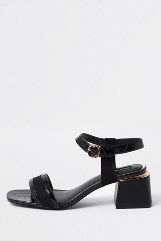River Island Black Splice Block Heel Sandals