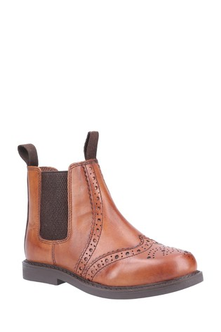 Cotswold Tan Nympsfield Kids Brogue Pull-On Chelsea Boots