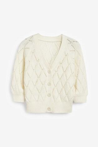 White Pointelle Detail Button Cardigan