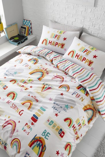 Be A Rainbow Duvet Cover and Pillowcase Set by Catherine Lansfield