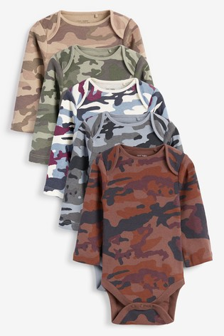 Camouflage 5 Pack Camo Long Sleeve Bodysuits (0mths-3yrs)