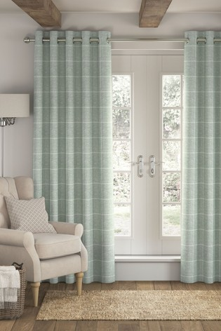 Sage Green Windowpane Check Eyelet Lined Curtains