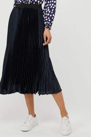 Monsoon Ladies Blue Penny Pleated Skirt
