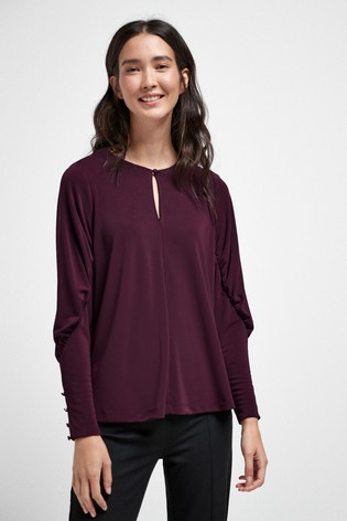Plum Rouched Sleeve Blouse