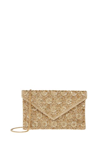 Accessorize Gold Tamara Embellished Clutch Bag