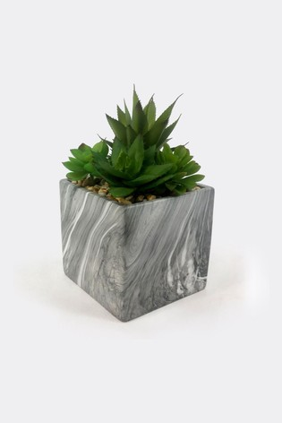 Bayswood Faux Succulent Square Marble Plant Pot
