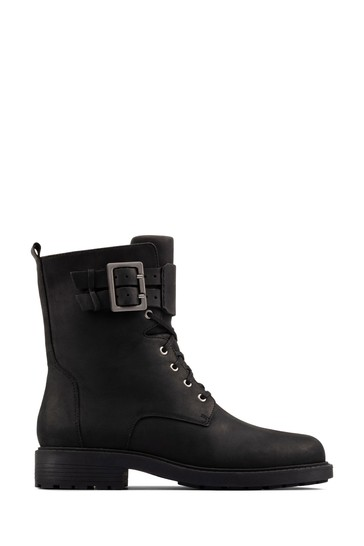 Clarks Black Leather Orinoco2 Lace Boots