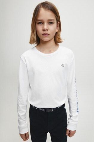 Calvin Klein Jeans White Repeat Logo Long Sleeve T-Shirt