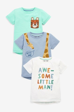 Blue Safari 3 Pack T-Shirts (3mths-7yrs)