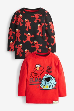Red/Black 2 Pack Cookie Monster And Elmo Long Sleeve T-Shirts (3mths-8yrs)