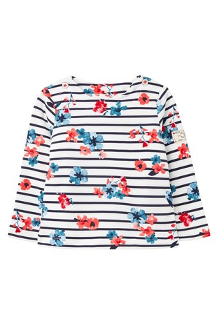 Joules White Harbour Print Jersey Top