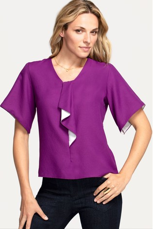 HotSquash Purple River-Tie Bat Sleeved Top