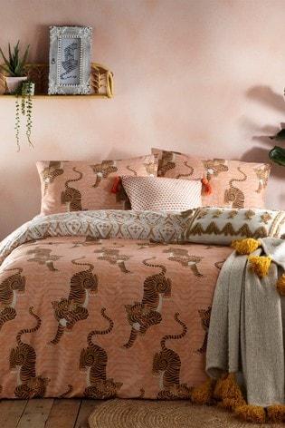 Tibetan Tiger Duvet Cover and Pillowcase Set by Furn