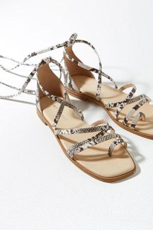 Mint Velvet Grey Pippa Snake Flat Sandals