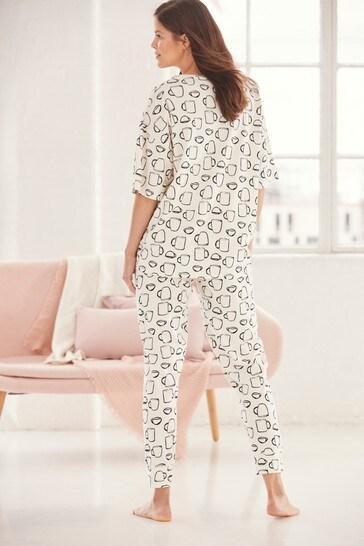 Monochrome Teacups Maternity Cotton Blend Pyjamas