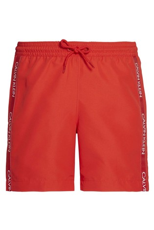 Calvin Klein Red CK Logo Tape Medium Drawstring Trunks