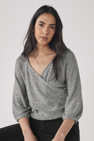 Grey Sequin Wrap Top