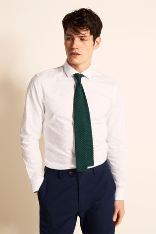 Moss London Slim Fit Sky Single Cuff Fil Coupé Shirt