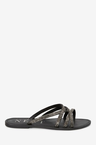 Black Diamanté Strappy Mules