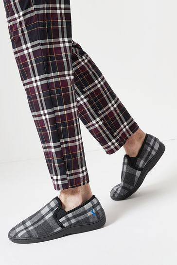 Grey Check Stag Closed Back Slippers