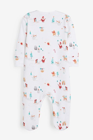 White GOTS Organic Christmas Sleepsuit (0mths-2yrs)