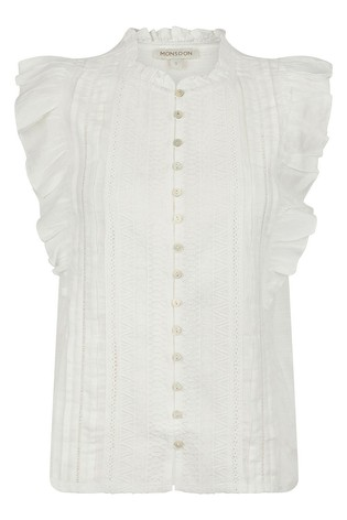Monsoon Cream Elizabeth Embroidered Jersey Top