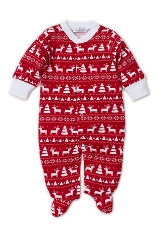Kissy Kissy Red Christmas Fairisle Print Babygrow