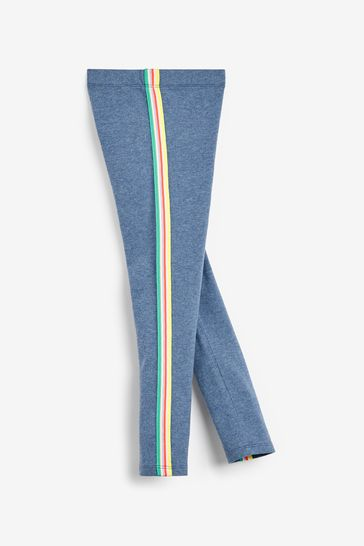 Blue Marl Rainbow Side Stripe Leggings (3-16yrs)